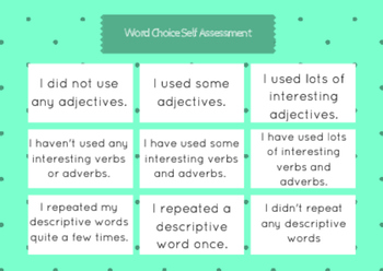 6+ 1 Word Choice Student Self-Assessment Rubric