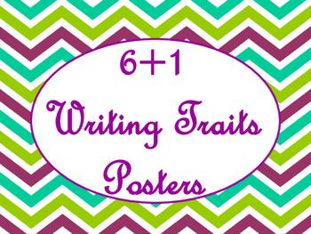 6+1 Writing Traits  Bulletin Board Signs/Posters (Purple Chevron)