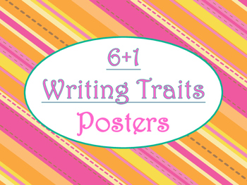 6+1 Writing Traits  Bulletin Board Signs/Posters (Tangerine & Hot Pink)