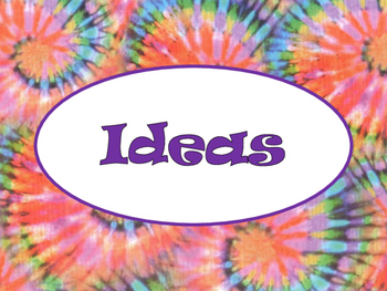 6+1 Writing Traits  Bulletin Board Signs/Posters (Tie Dye/Purple)
