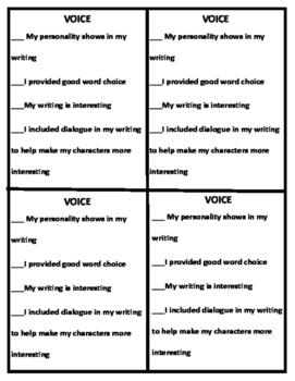 6 + 1 Writing Traits Success Criteria