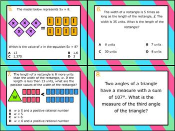 6.10A: Equations & Inequalities w/ Geometry STAAR Test-Prep Task Cards (GRADE 6)