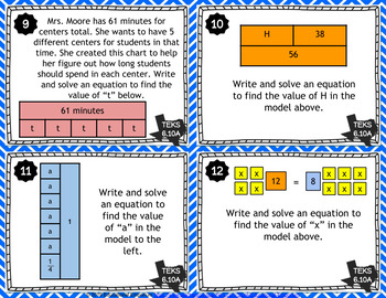 TEKS 6.10A Task Cards ⭐ Equations & Inequalities with Geometric Concepts ⭐
