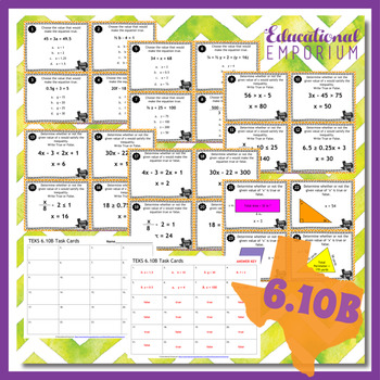 TEKS 6.10B Task Cards ⭐ One-Variable, One-Step Equations ⭐ 6.10B Centers
