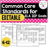 6-12 Common Core Standards Supporting IEP Goals for ELA {Editable}