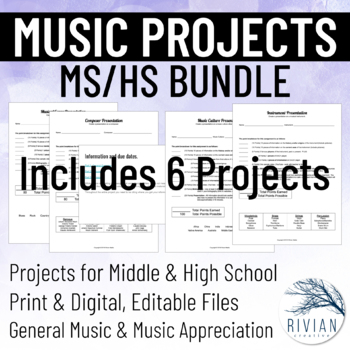 6-12 Music Project BUNDLE: Middle School & High School Music (Distance Learning)