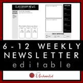Grades 6-12 Weekly Newsletter Template + 12 Monthly Calend