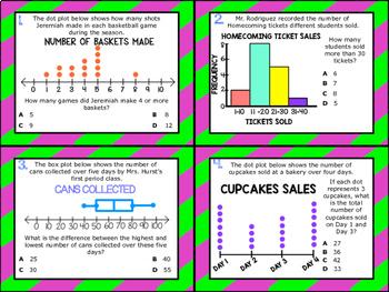6.12A: Numerical Data in Graphs STAAR Test-Prep Task Cards (GRADE 6)