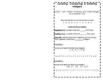 6.2(C) Locating,Comparing, & Ordering Integers Booklet