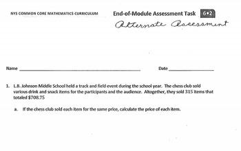 6.2 PDF Alternate End Assessment Module 2 Engage NY Eureka Math Sixth
