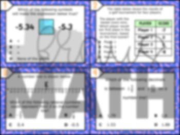 6.2C: Compare & Order Integers & Rational Numbers STAAR Test-Prep Task Cards