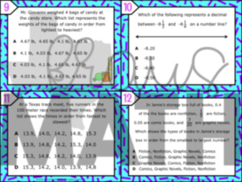 6.2D: Compare & Order Rational Numbers STAAR Test-Prep Task Cards (GRADE 6)