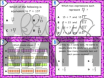 6.2E: Interpreting Fractions as Division STAAR Test-Prep Task Cards (GRADE 6)