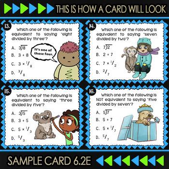6.2E Math ★ Fractions as Division ★ 6th Grade ★ Math TEK 6.2E ★ TEKS Task Cards