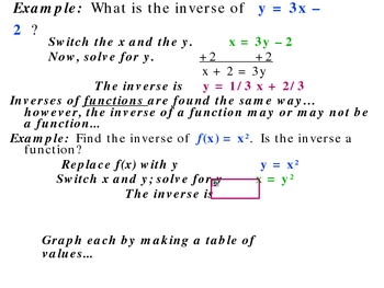 6-3 Inverses of functions