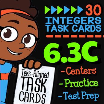 Math TEK 6.3C ★ Integer Operations ★ 6th Grade Task Cards
