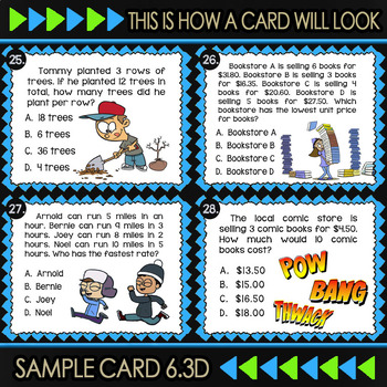 Math TEK 6.3D ★ Add, Subtract, Multiply & Divide Integers ★ 6th Grade Task Cards