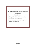 6.3e Multiply and Divide rational numbers word problem card match