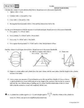 6-4 Volumes of Geometric Solids