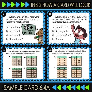 Math TEK 6.4A ★ Additive & Multiplicative Relationships ★ 6th Grade Task Cards