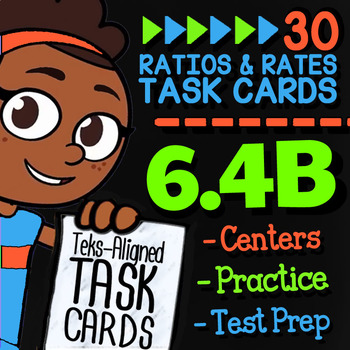 Math TEK 6.4B ★ Comparing Ratios & Rates ★ 6th Grade Task Cards