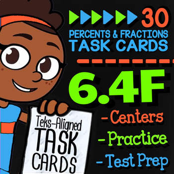 Math TEK 6.4F ★ Benchmark Fractions & Percents ★ 6th Grade Task Cards