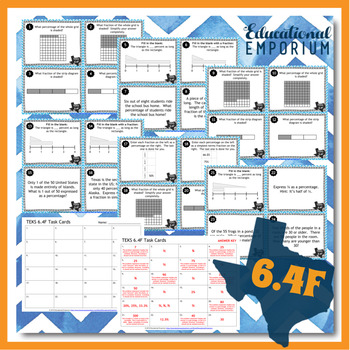 TEKS 6.4F Task Cards ⭐ Benchmark Fractions & Percents ⭐ 6.4F Centers