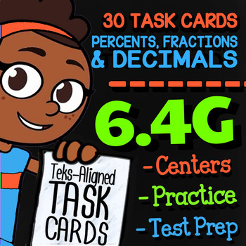 Math TEK 6.4G ★ Fractions, Decimals, & Percents ★ 6th Grade Task Cards