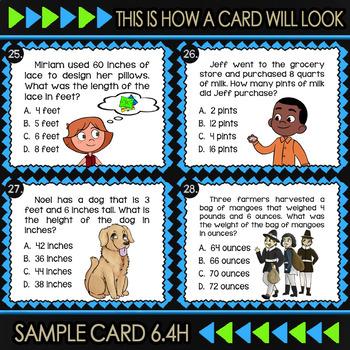 Math TEK 6.4H ★ Measurement Conversions ★ 6th Grade Task Cards