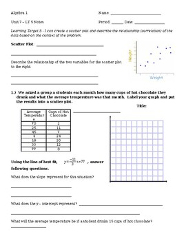 6.5 Notes - Scatter Plot and Correlation