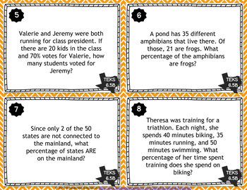 TEKS 6.5B Task Cards ⭐ Percents & Fractional Parts ⭐ 6.5B Centers