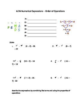 6.7A Numerical expressions - Order of Operations