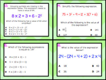 6.7A: Order of Operations STAAR Test-Prep Task Cards (GRADE 6)