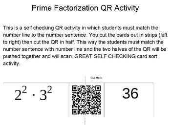6.7A Prime Factorization QR Card Sort