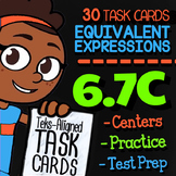 Math TEK 6.7C ★ Equivalent Expressions ★ 6th Grade Math STAAR Review Task Cards