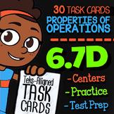 Math TEK 6.7D ★ Properties of Operations ★ 6th Grade STAAR Math Task Cards
