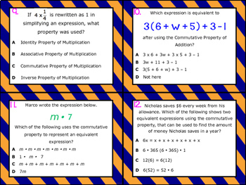 6.7D: Simplify Expressions Using Properties STAAR Test-Prep Task Cards (GRADE 6)