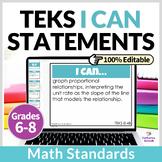 Middle School Math Bundle   I Can TEKS Statements  Digital
