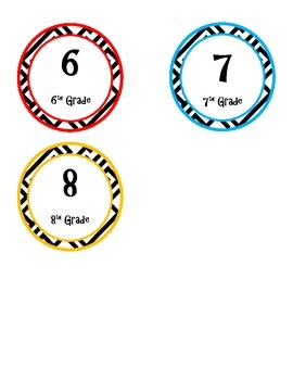 6-8 Grade Printable Circle Labels, Primary Colors