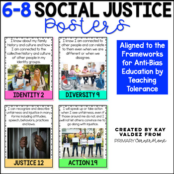 """6-8 Social Justice Posters-Kid Friendly """"I Can""""-Anchor Charts"""
