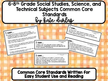 6-8 Writing Social Studies, Science, and Technical Studies