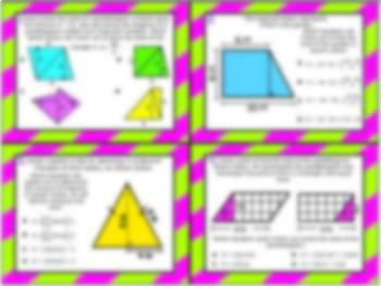6.8B: Modeling Area Formulas STAAR Test-Prep Task Cards (GRADE 6)