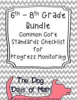 6-8th Bundled Grade Math Common Core Standard Checklist fo