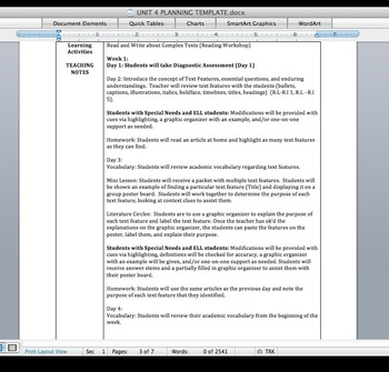 6-8th Grade Common Core Unit Plan and Final Assessment: Text Features/Structures