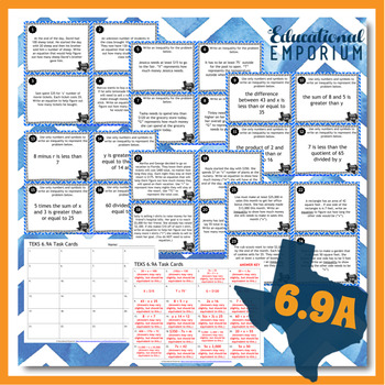 TEKS 6.9A Task Cards ⭐ Equations and Inequalities ⭐ 6.9A Centers