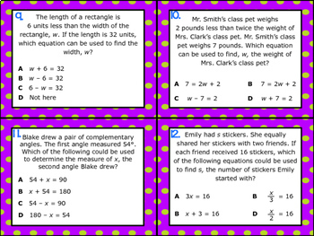 6.9A: Writing Equations & Inequalities STAAR Test-Prep Task Cards (GRADE 6)