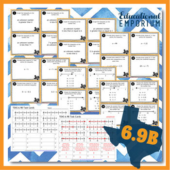 TEKS 6.9B Task Cards ⭐ Equations and Inequalities on a Number Line ⭐6.9B Centers
