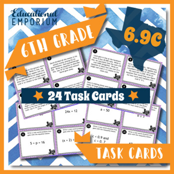 TEKS 6.9C Task Cards ⭐ Write One-Step Equations & Inequalities ⭐6.9C Centers