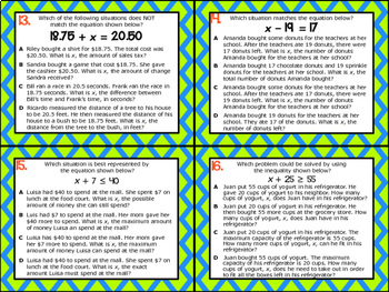 6.9C: Write Problems from Equations & Inequalities STAAR Test-Prep Task Cards