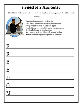 Acrostic Poem Templates for Martin Luther King Day ( MLK )